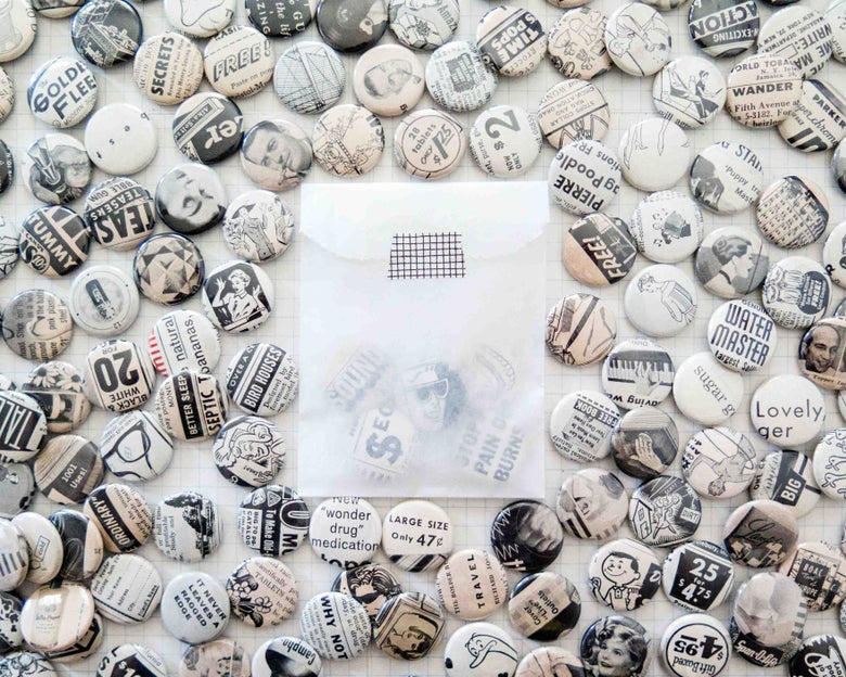Image of black and white button grab bags