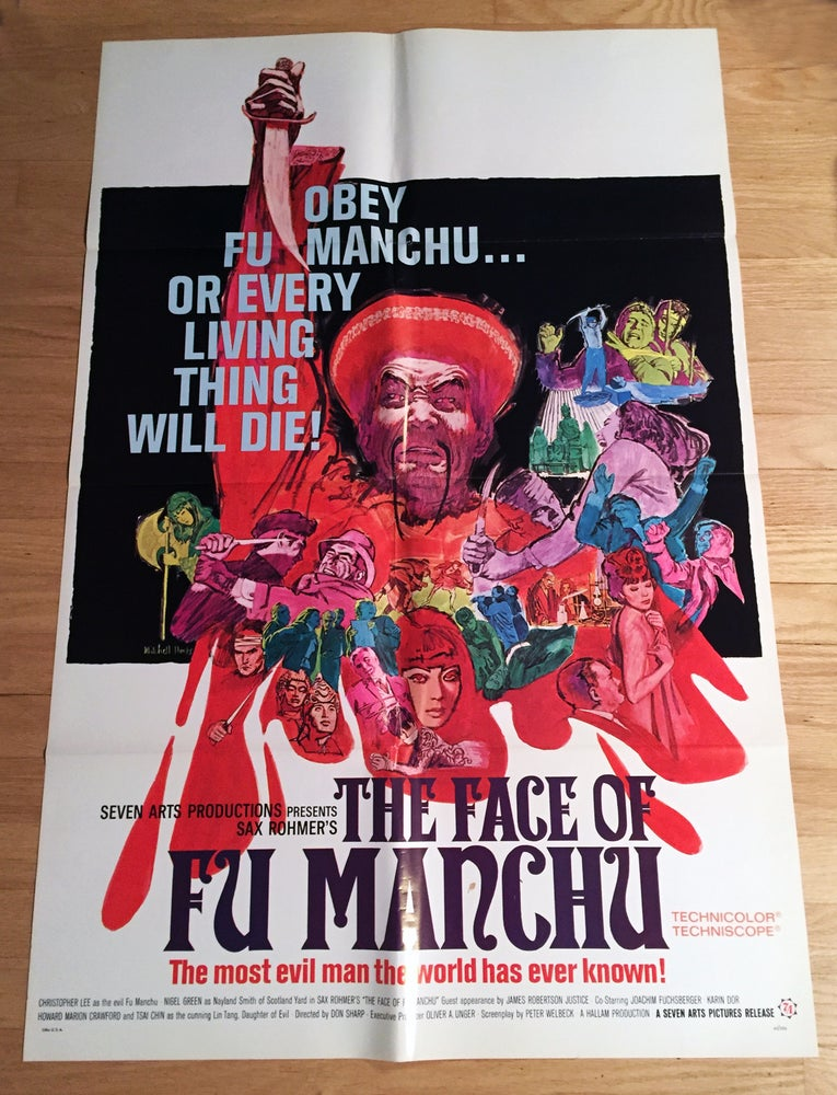 Image of 1965 THE FACE OF FU MANCHU Original U.S. One Sheet Movie Poster