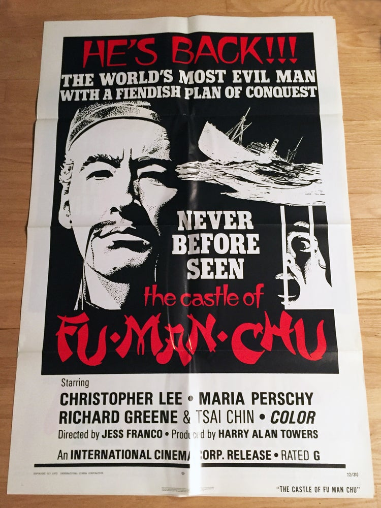 Image of 1972 THE CASTLE OF FU MANCHU Original U.S. One Sheet Movie Poster