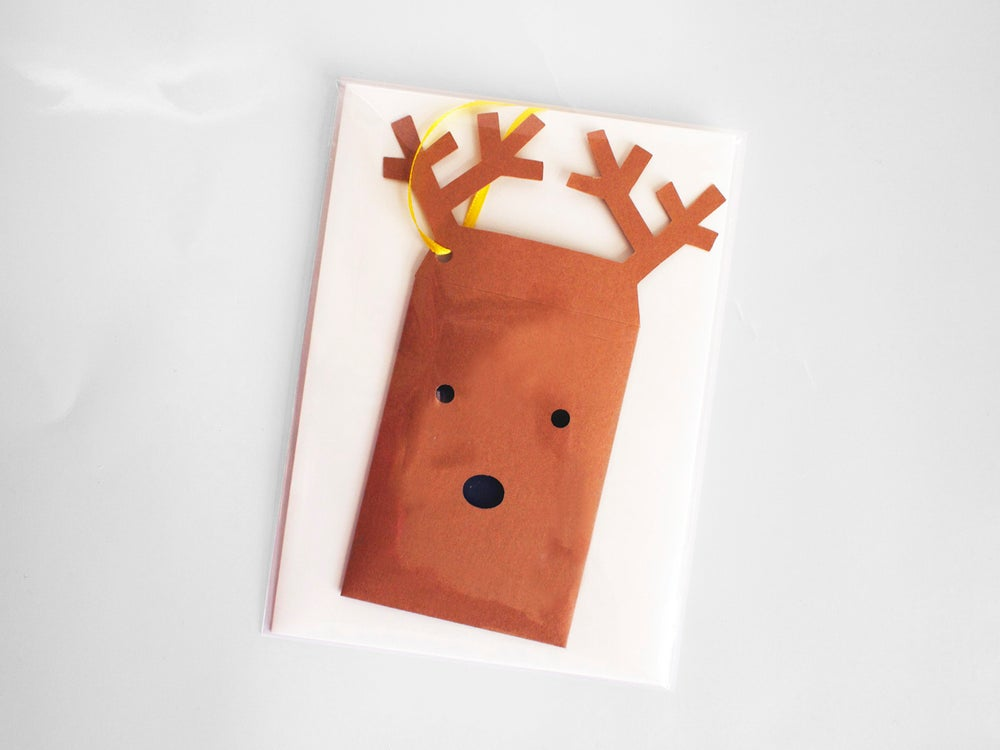 Image of 4 x Reindeer Envelope Gift Tag