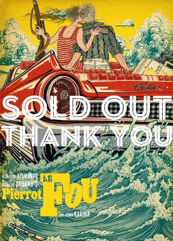 Image of SOLD OUT limited edition Godard PIERROT LE FOU 11 color silkscreen poster (POP ART edition)