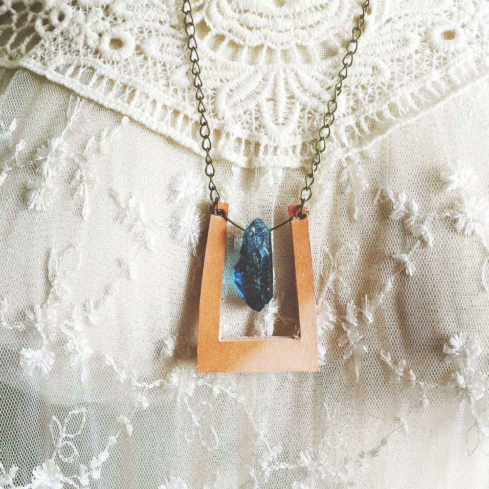 Image of Beacon. Leather and blue Quartz Necklace