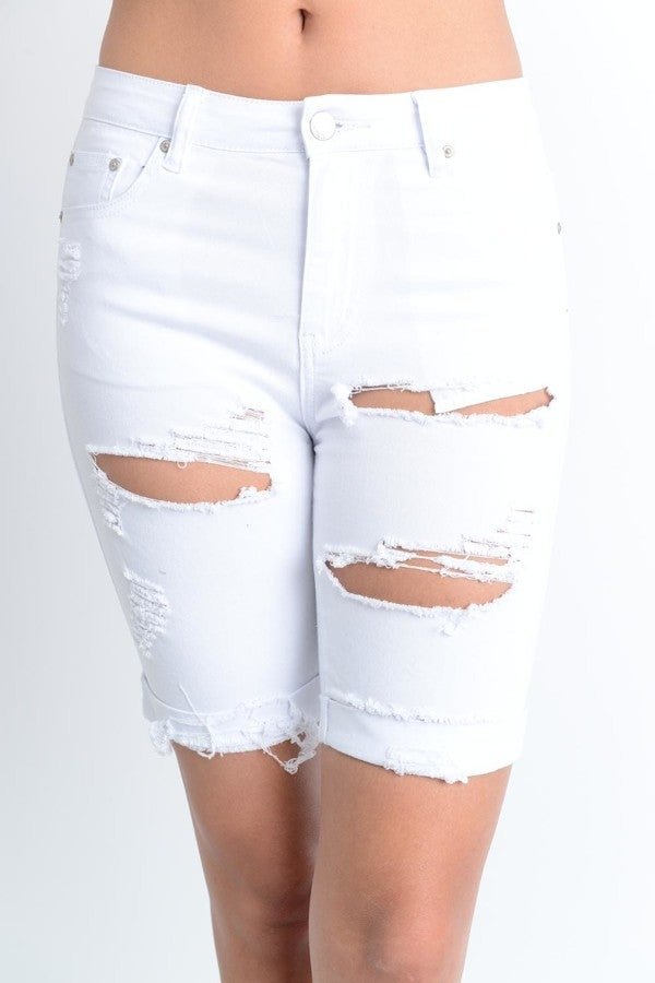 Image of Distressed White Shorts