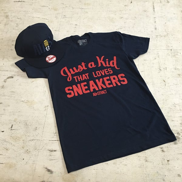 """Image of JUST A KID THAT LOVES SNEAKERS """"NAVY/RED"""" TSHIRT"""