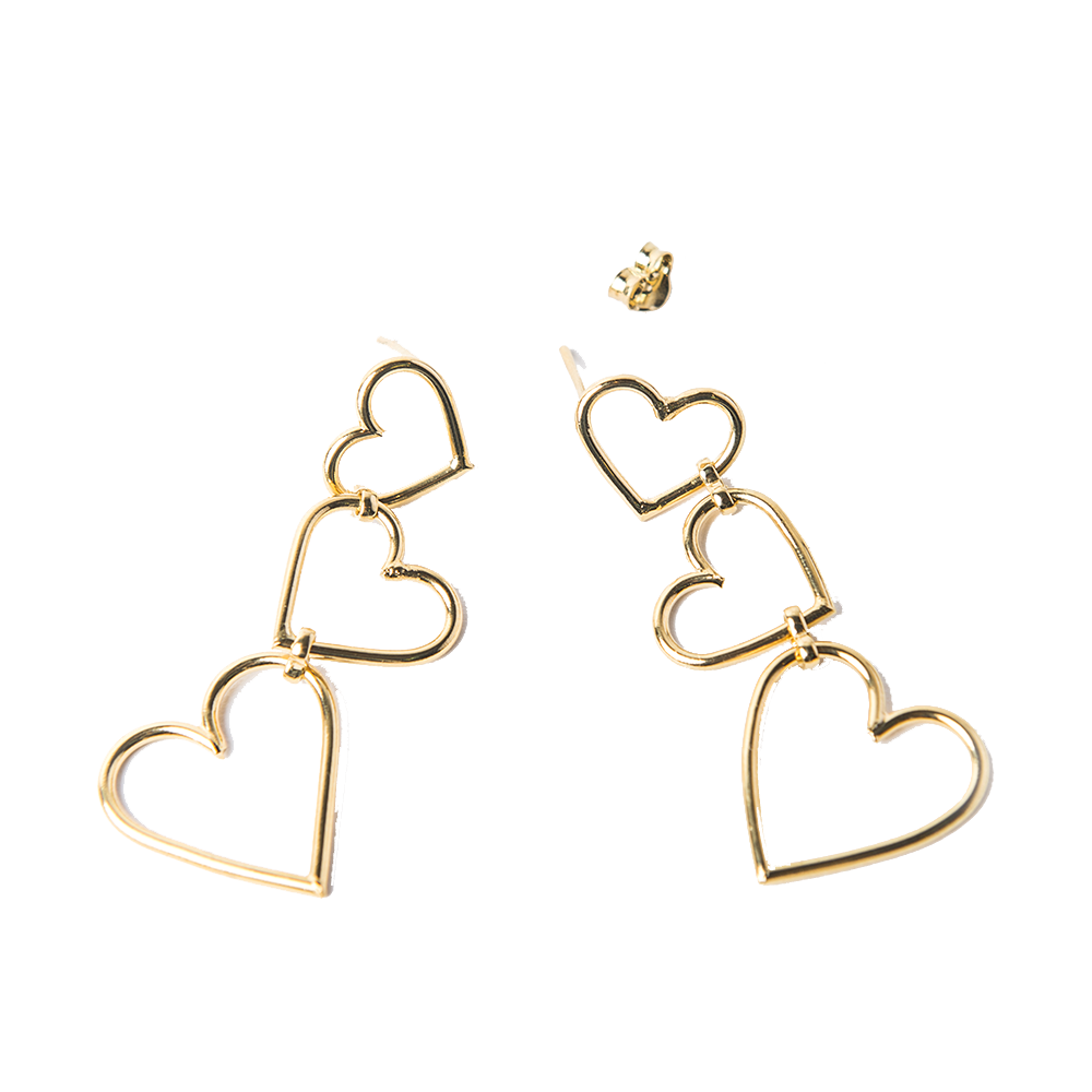 Detalle de Broken Wire Triple Heart earrings