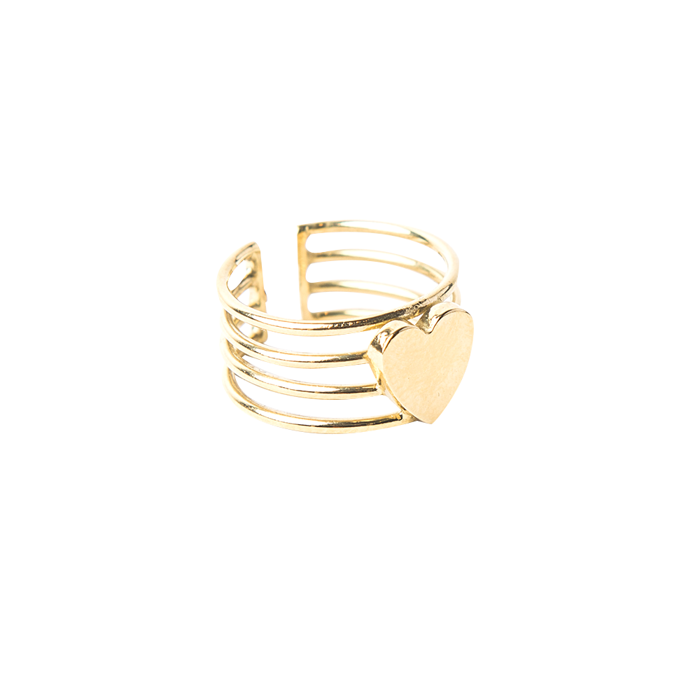 Detalle de Broken Filled Heart lines ring