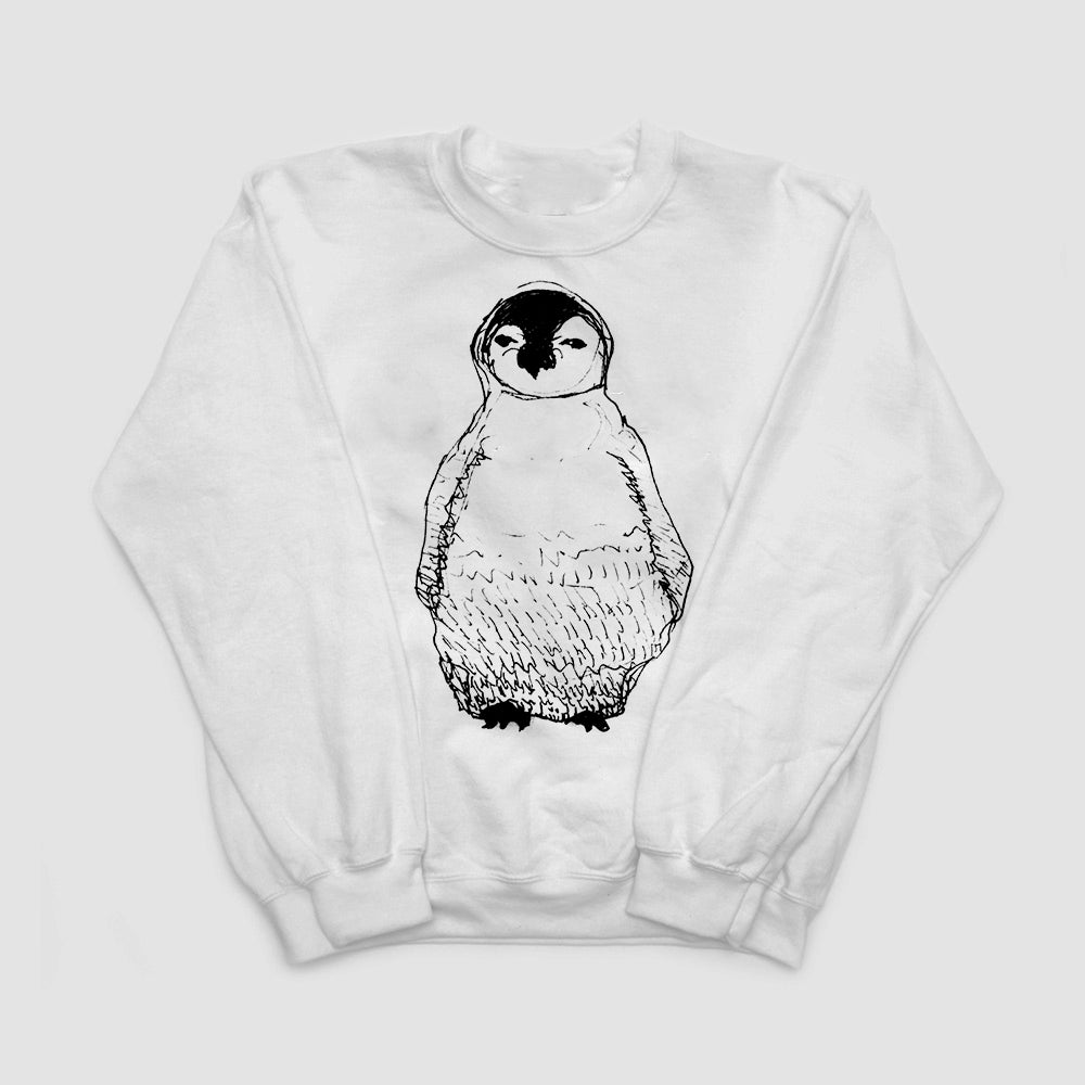 Image of Penguin Sketch Illustration White Sweatshirt