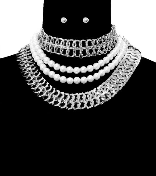 Image of Three Layered Pearl Choker Necklace