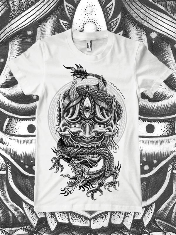 Image of Hannya/Dragon (White)