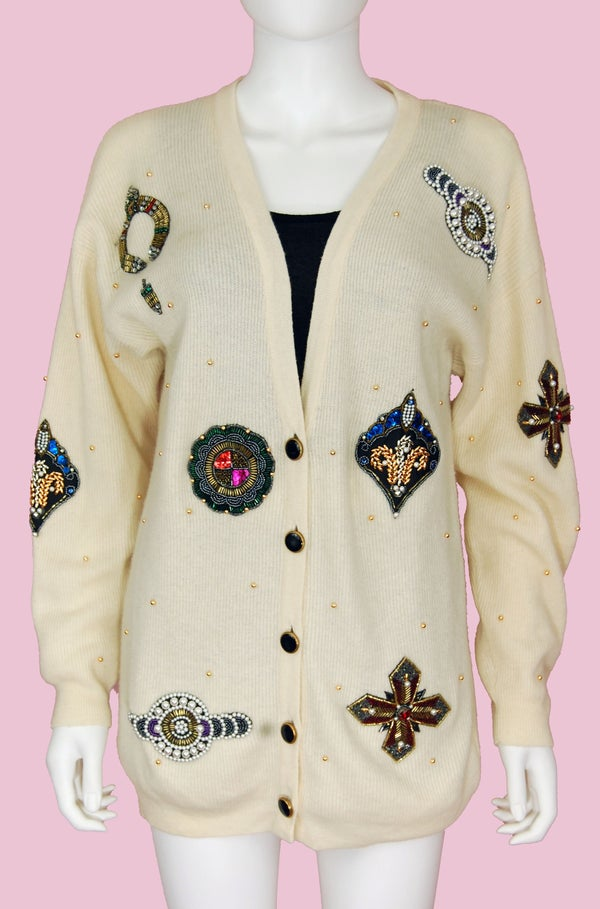 Image of 90'S OVERSIZED IVORY SWEATER WITH COLORFUL SEQUINS SIZE M