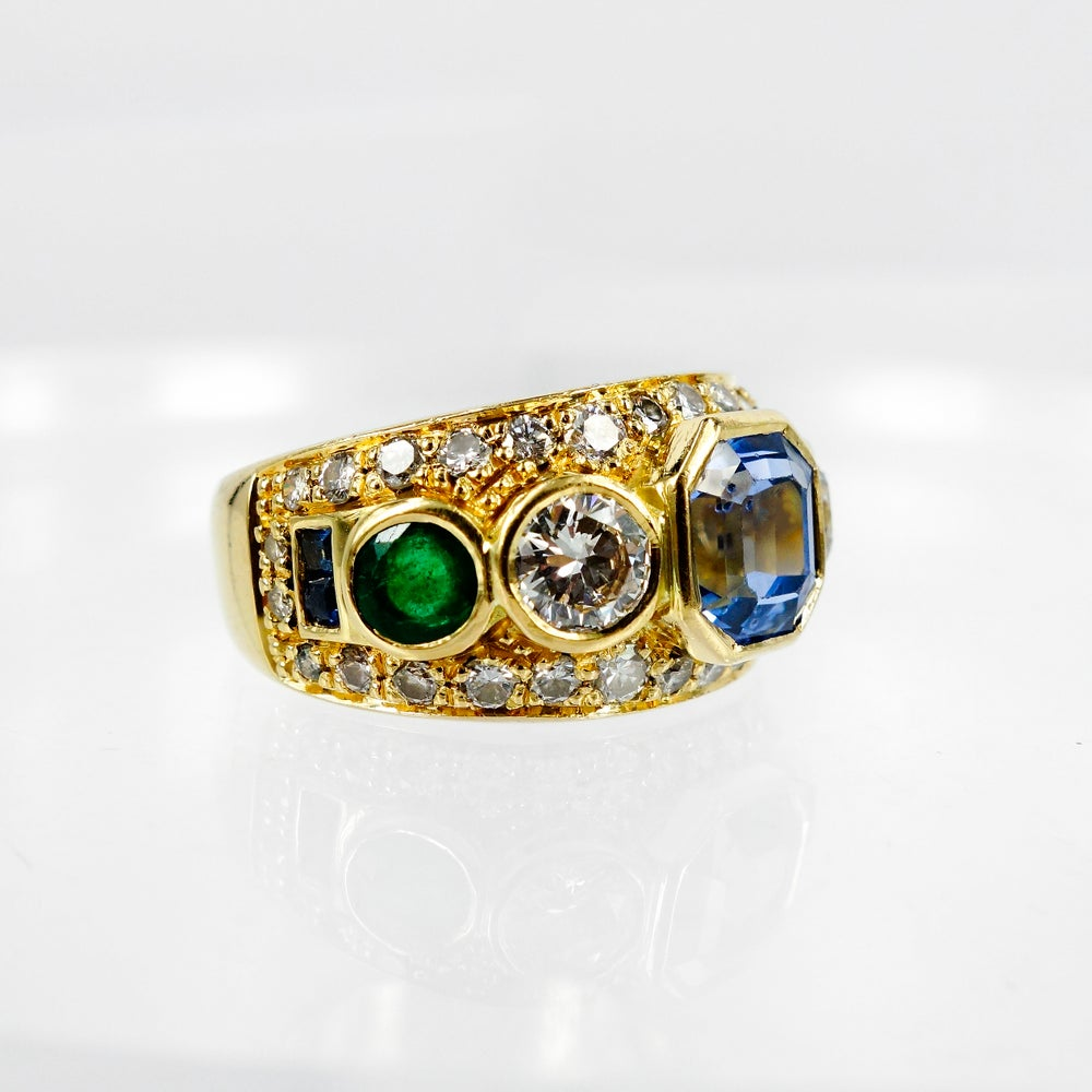 Image of 18ct Yellow Gold Contemporary Multi Stone Cocktail Ring.