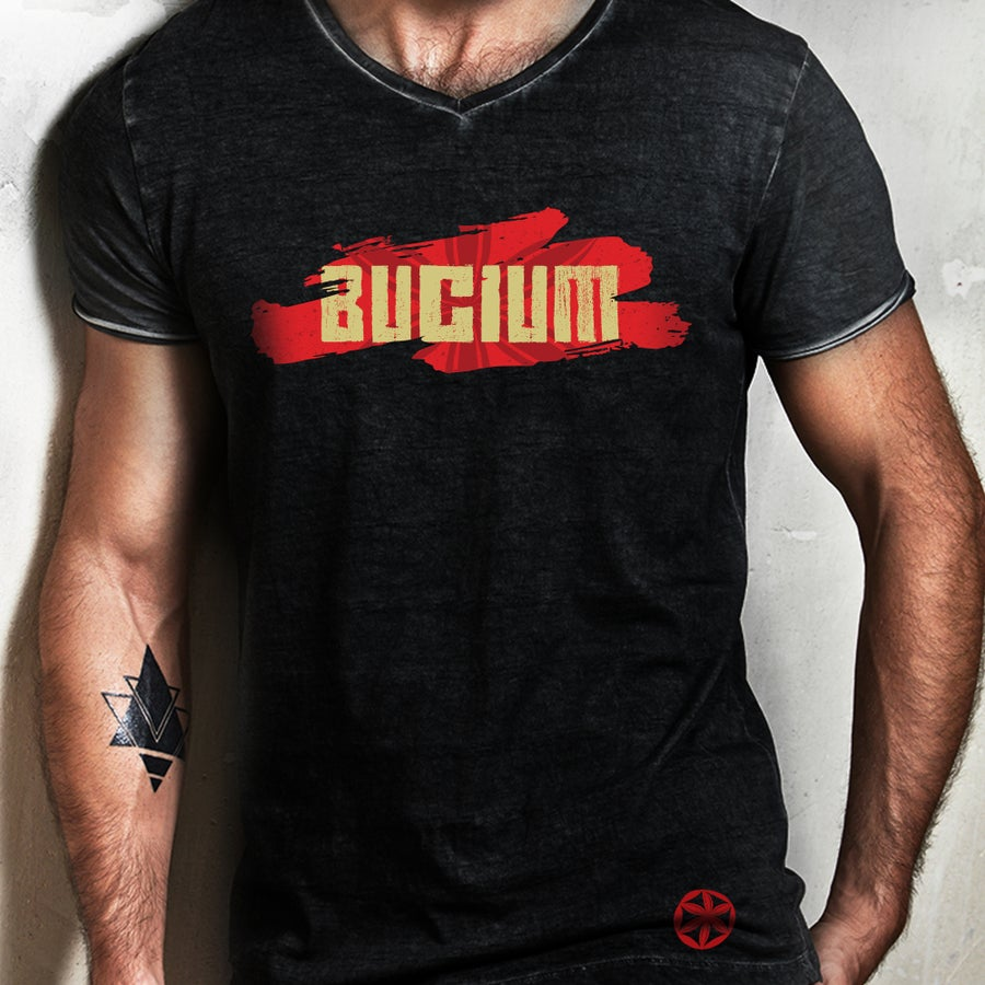 Image of Man - Bucium Logo - Black T-shirt