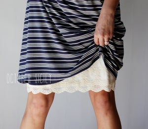 Image of Modest Opaque Lace Dress Extender HALF SLIP *Style 2 * size S-4XL
