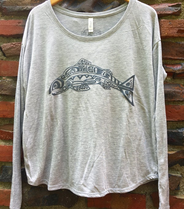 Image of Salmon Spirit- women's flowy long sleeve