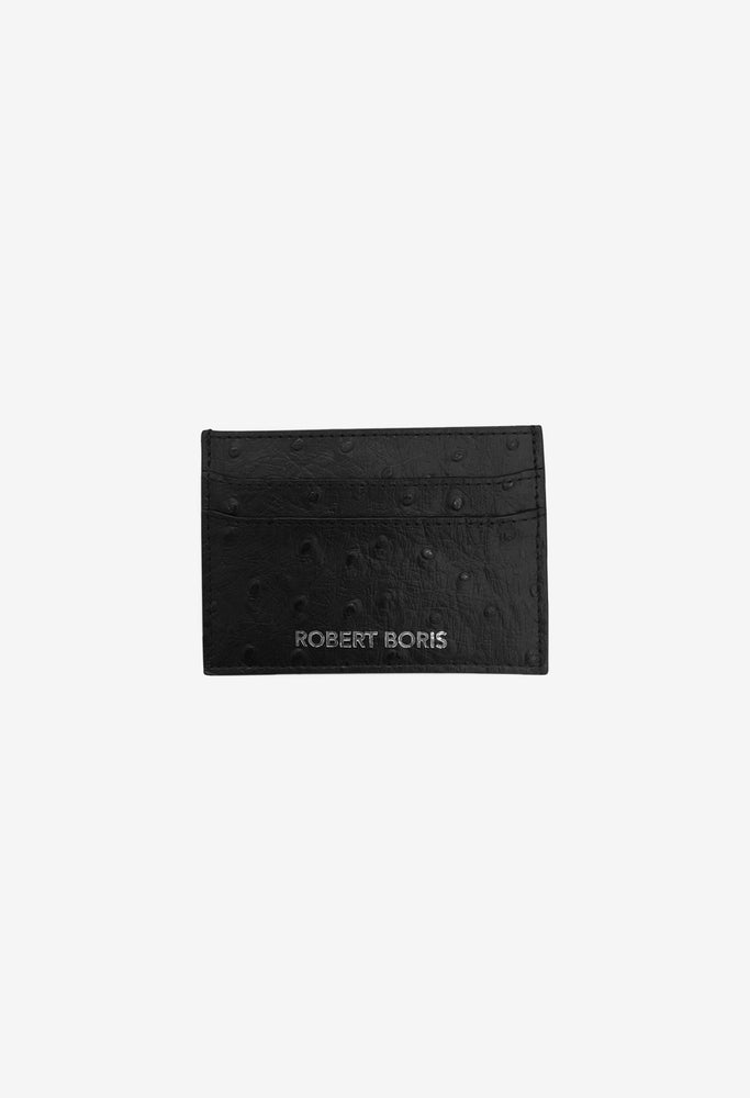 Image of Card Holder - Black Ostrich Embossed