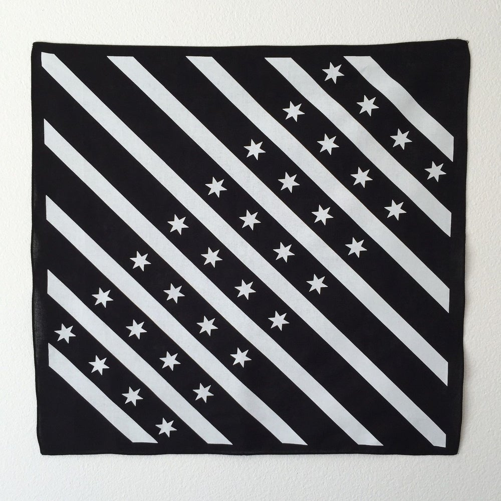 Image of Black and White Chicago flag bandana