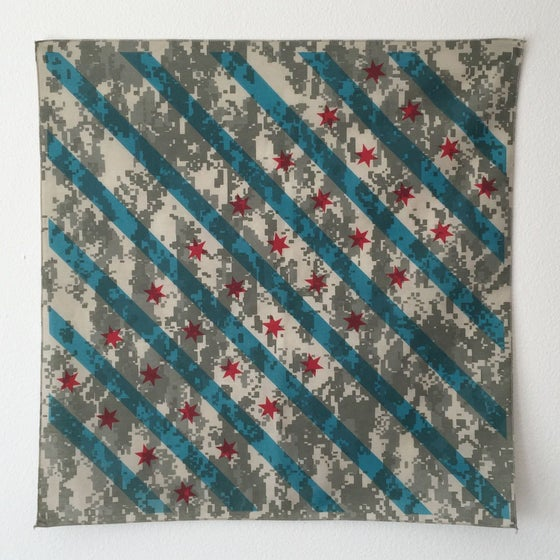 Image of Camouflage Chicago flag bandana