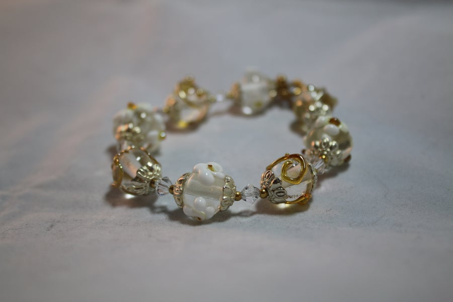 Image of White and gold lampwork bracelet