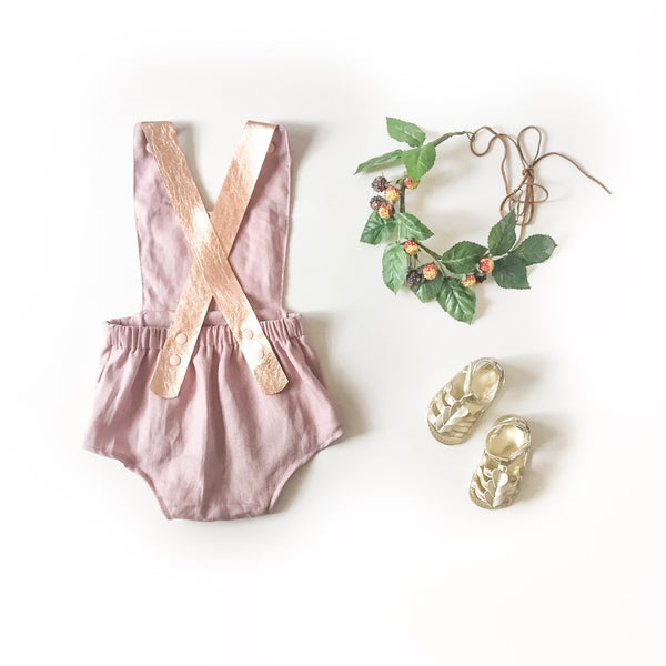 Image of leather strap 'rosie' linen playsuit