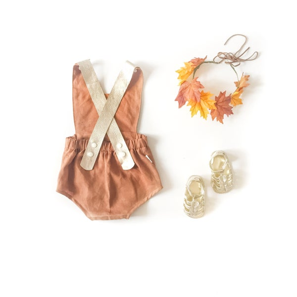 Image of leather strap 'salty caramel' linen playsuit