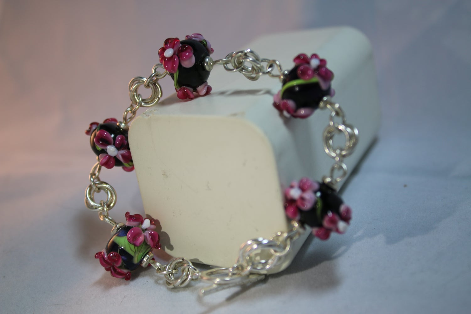 Image of Black and pink floral lampwork bracelet