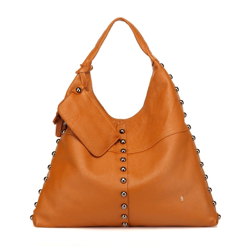 Image of Tiffany Anisette Jacque Caramel Leather Hobo