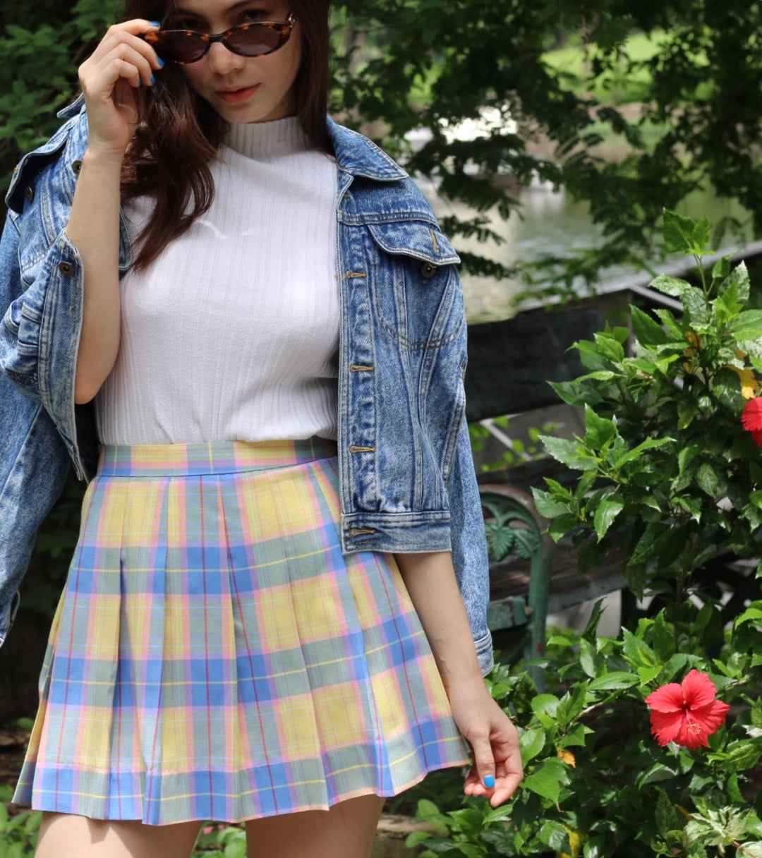Made To Order - Blue Yellow and Pink Tartan Skirt | Glitters For Dinner