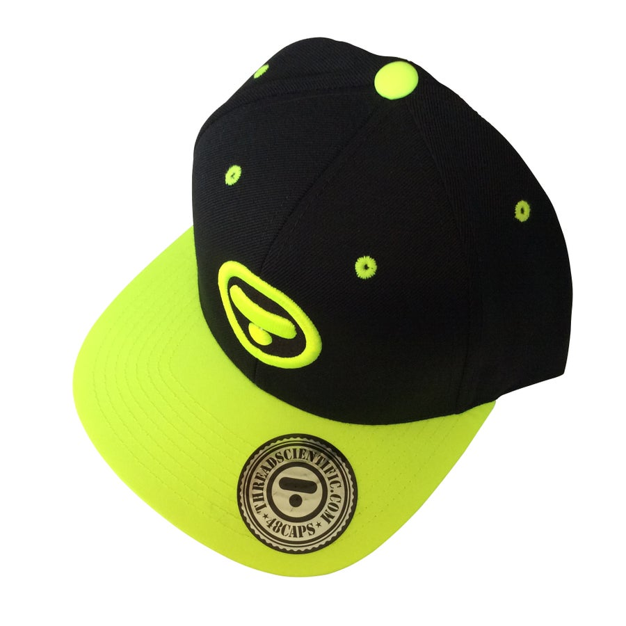 Image of T-Symbol 3D Embroidery Hat (Black/Neon Green)