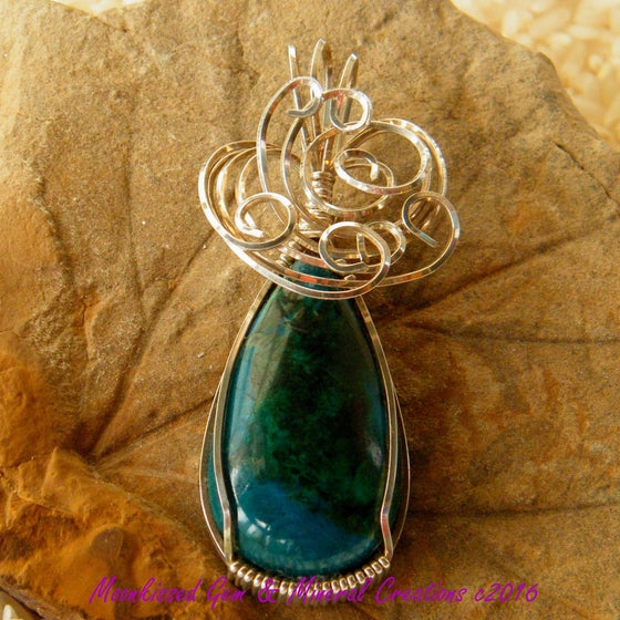 Image of Peruvian Chrysocolla Cabochon Sterling Silver Wirewrapped Pendant
