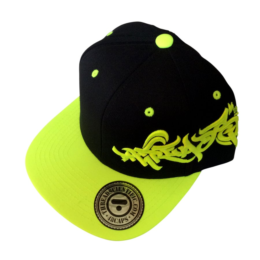 Image of T-Tag 3D Embroidery Hat (Black/Neon Green)