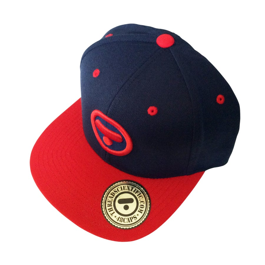 Image of T-Symbol 3D Embroidery Hat (Navy/Red)