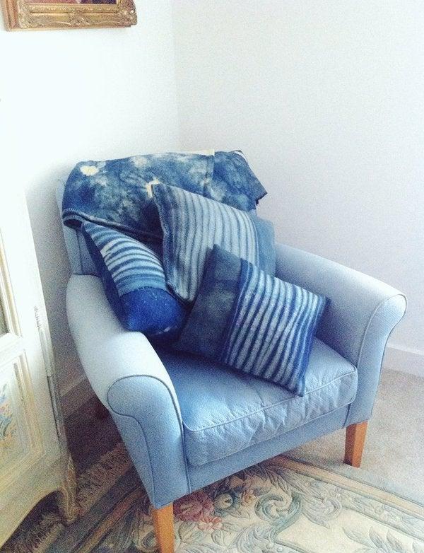 Image of Indigo Shibori hand-dyed recycled wool cushions