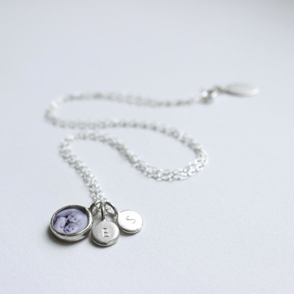 Image of Family keepsake necklace (1 PHOTO, 1 INITIAL TAG)