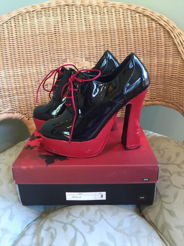 Image of Pleaser DOLLY-91 Black Patent Leather Red Oxford Lace-up Platform Shoes Cosplay