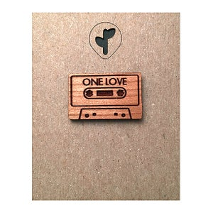 Image of one love mixed tape / lapel pin
