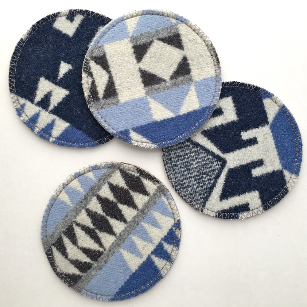 Image of Wool & Leather Coasters - Blue/Grey