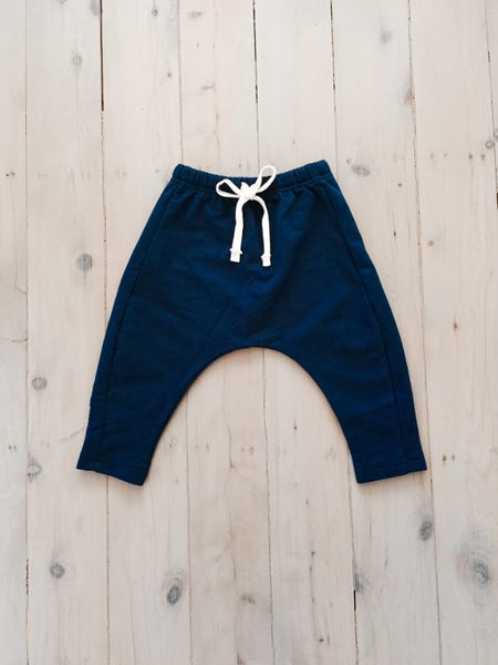 Image of NAVY WINTER DROP CROTCH PANTS