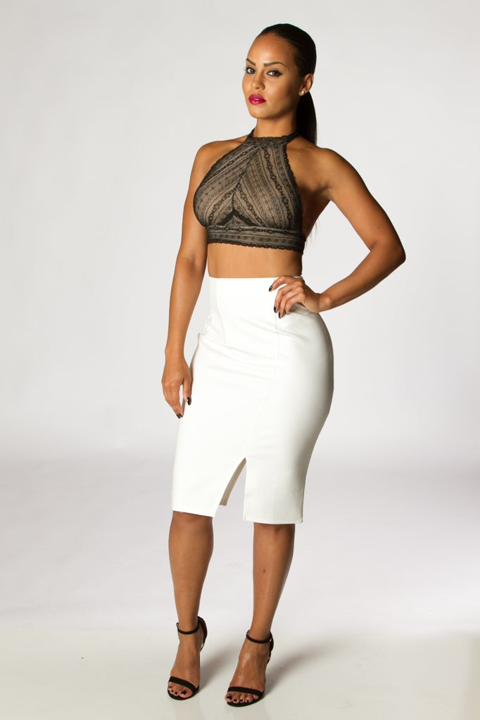 Image of White Slit High Waist Skirt