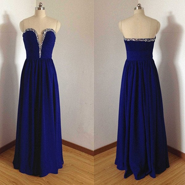 Simple Royal Blue Long Prom Gown 2017, Simple Evening Gowns, Party ...