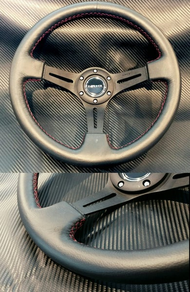 Image of NRG 350mm Black leather Red stitching steering wheel