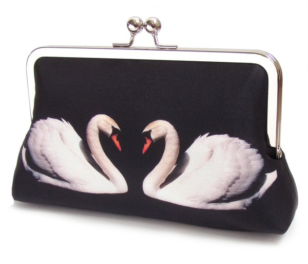 Two Swans -  original silk clutch bag - Red Ruby Rose
