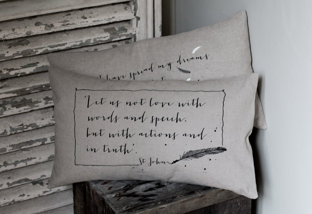 Image of Hand drawn linen cushion