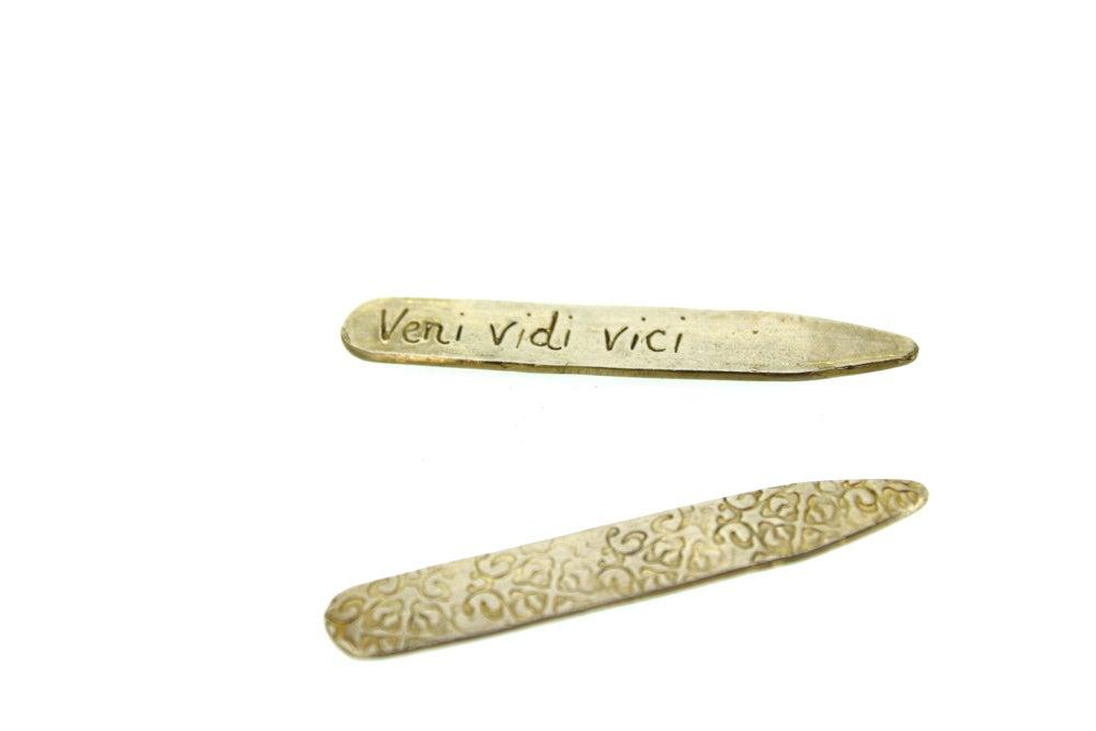 Image of veni vidi vici collar stays by peaces of indigo