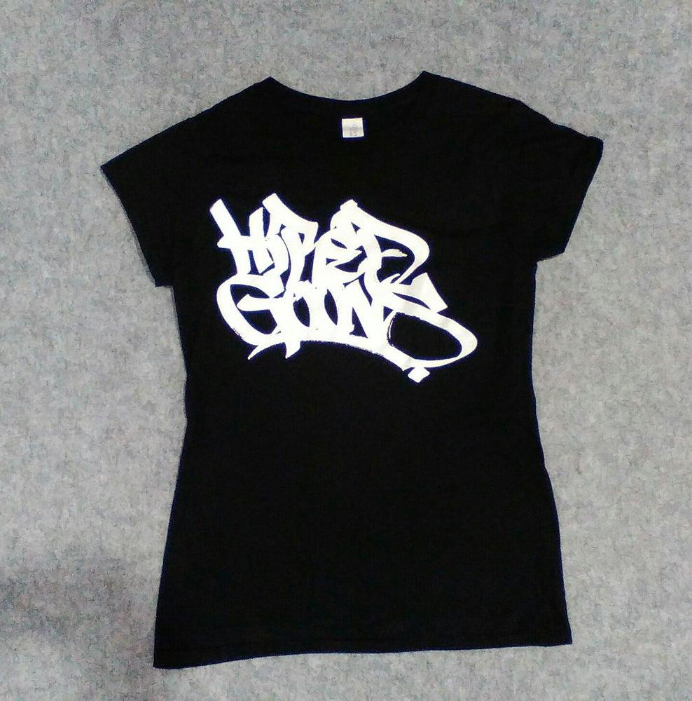 "Image of Ladies ""Hired Goons"" O.G. tag shirt.  White on Black"
