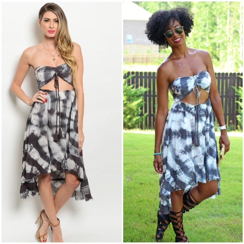 Image of Charcoal & Ivory Gauze Tie-Dye Dress