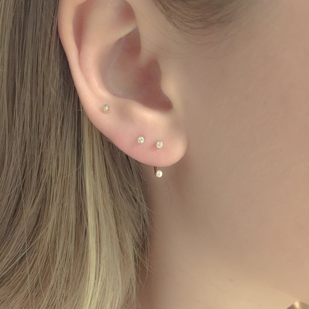 Image of ROUND JEWEL CURVE STUDS - GOLD $280.00 SILVER $135.00