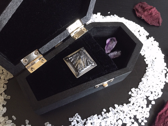 Velvet Lined Wooden Coffin Jewelry Box Beyond the Crystal Veil
