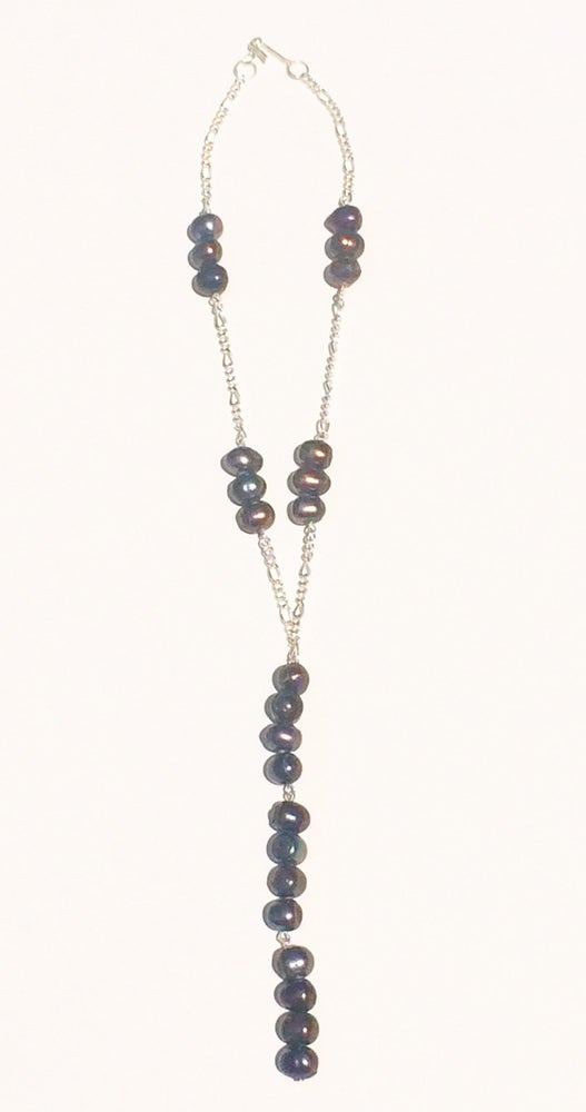 Image of Chain Pearl Lariat Necklace