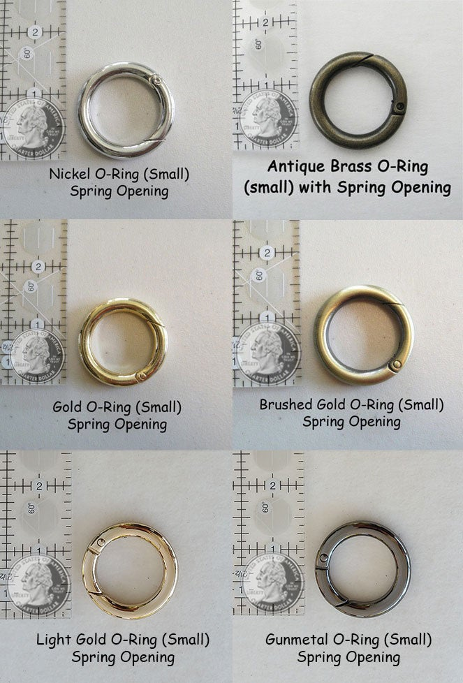 Image of Large, Small or Mini O-Ring Hardware Replacement with Spring Gate Opening - Your Choice of Finish