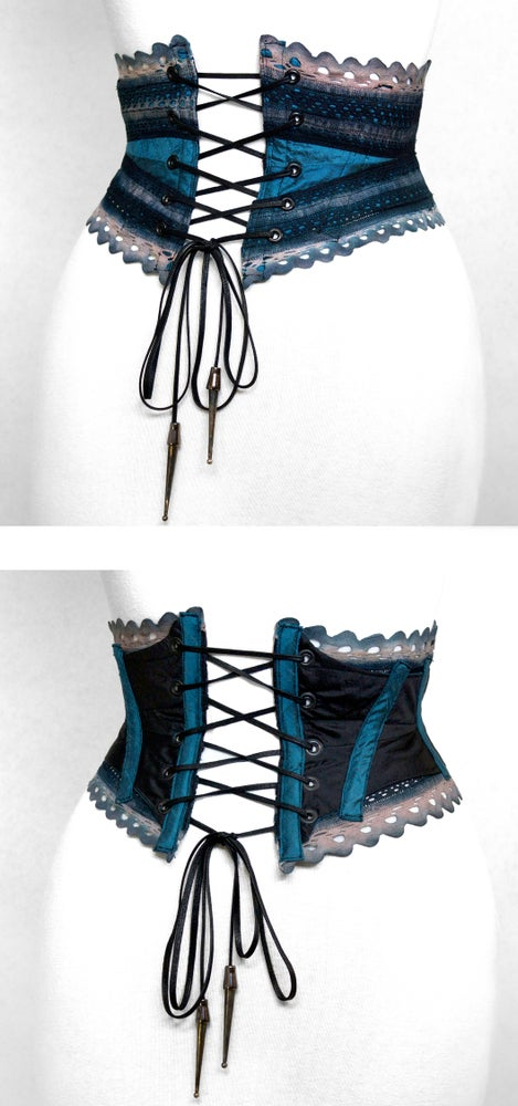 Image of Blue Rose Reversible Crochet Corset Belt